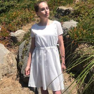 White Drawstring Waist Sheath Mini Dress